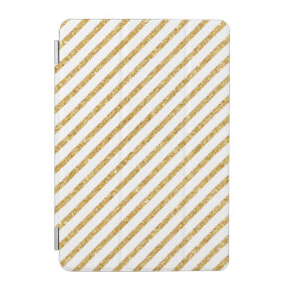 Gold Glitter and White Diagonal Stripes Pattern iPad Mini Cover