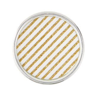 Gold Glitter and White Diagonal Stripes Pattern Lapel Pin