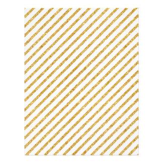 Gold Glitter and White Diagonal Stripes Pattern Letterhead