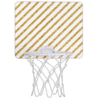 Gold Glitter and White Diagonal Stripes Pattern Mini Basketball Hoop