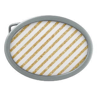 Gold Glitter and White Diagonal Stripes Pattern Oval Belt Buckle