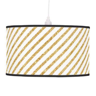 Gold Glitter and White Diagonal Stripes Pattern Pendant Lamp