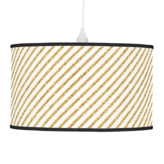Gold Glitter and White Diagonal Stripes Pattern Pendant Lamp