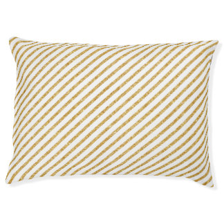 Gold Glitter and White Diagonal Stripes Pattern Pet Bed