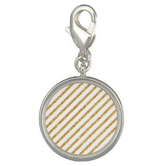 Gold Glitter and White Diagonal Stripes Pattern Photo Charm