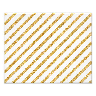 Gold Glitter and White Diagonal Stripes Pattern Photographic Print