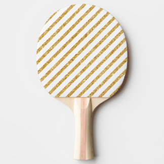 Gold Glitter and White Diagonal Stripes Pattern Ping-Pong Paddle