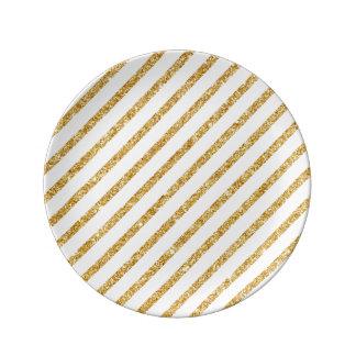 Gold Glitter and White Diagonal Stripes Pattern Plate