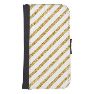 Gold Glitter and White Diagonal Stripes Pattern Samsung S4 Wallet Case