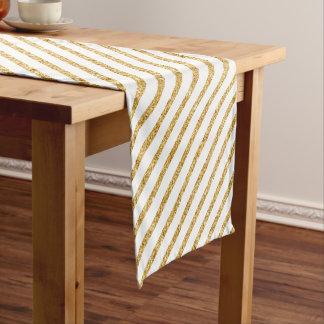 Gold Glitter and White Diagonal Stripes Pattern Short Table Runner