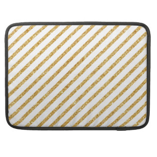 Gold Glitter and White Diagonal Stripes Pattern Sleeve For MacBook Pro