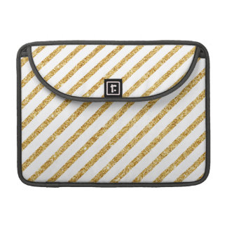 Gold Glitter and White Diagonal Stripes Pattern Sleeve For MacBooks