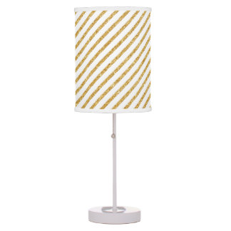 Gold Glitter and White Diagonal Stripes Pattern Table Lamp