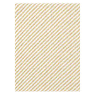 Gold Glitter and White Diagonal Stripes Pattern Tablecloth