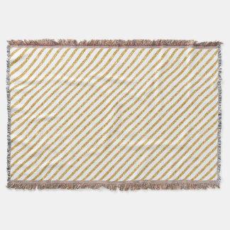 Gold Glitter and White Diagonal Stripes Pattern Throw