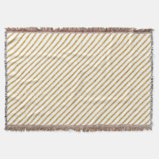 Gold Glitter and White Diagonal Stripes Pattern Throw Blanket
