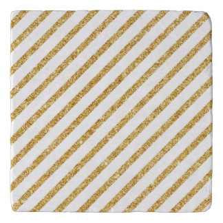 Gold Glitter and White Diagonal Stripes Pattern Trivet