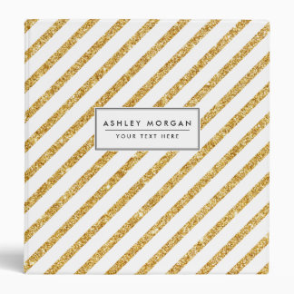 Gold Glitter and White Diagonal Stripes Pattern Vinyl Binder
