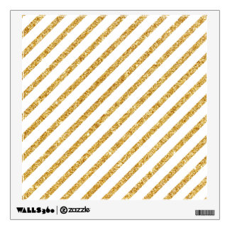 Gold Glitter and White Diagonal Stripes Pattern Wall Decal