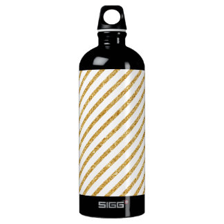 Gold Glitter and White Diagonal Stripes Pattern Water Bottle