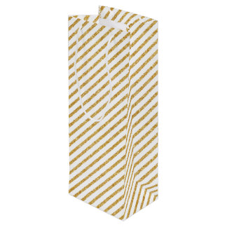 Gold Glitter and White Diagonal Stripes Pattern Wine Gift Bag