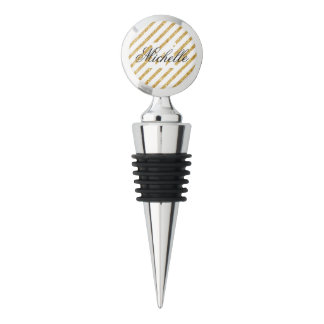 Gold Glitter and White Diagonal Stripes Pattern Wine Stopper