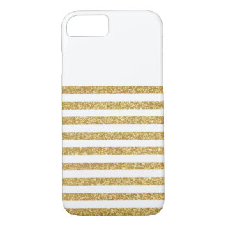 Gold Glitter and White Stripe iPhone 7 Case