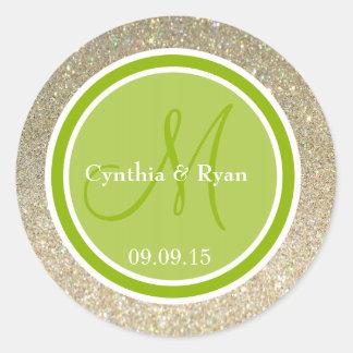 Gold Glitter & Apple Green Wedding Monogram Round Sticker