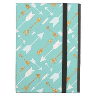 Gold Glitter Aqua Arrows Cover For iPad Air