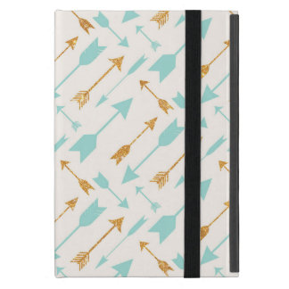 Gold Glitter Aqua Arrows Cover For iPad Mini