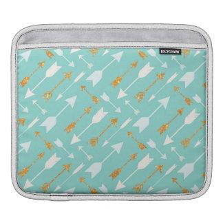 Gold Glitter Aqua Arrows iPad Sleeve