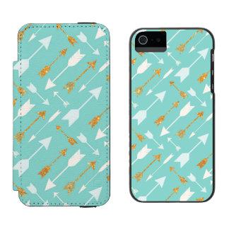 Gold Glitter Aqua Arrows iPhone SE/5/5S Wallet Incipio Watson™ iPhone 5 Wallet Case