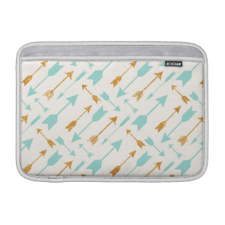Gold Glitter Aqua Arrows MacBook Air Sleeve