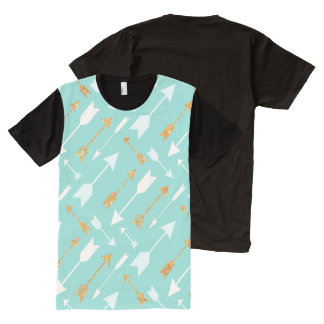 Gold Glitter Aqua Arrows Pattern T-shirt