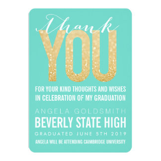 "Gold Glitter Aqua Graduation Thank You Card 5"" X 7"" Invitation Card"