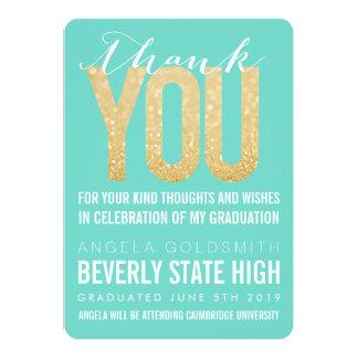 "Gold Glitter Aqua Graduation Thank You Card 5"" X 7"" Invitation Card"