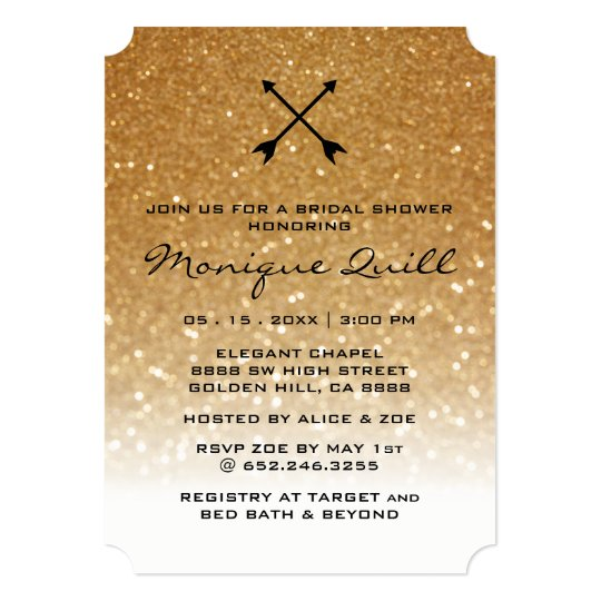 Gold Glitter Arrows Glam Wedding Bridal Invitation