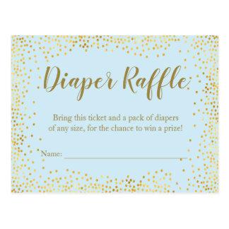 Gold Glitter Baby Blue Diaper Raffle Ticket Postcard