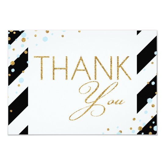 Gold Glitter Baby Blue Sprinkles Stripe Thank You Card