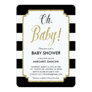 "Gold Glitter Baby Shower Invitation, Black & Gold 5"" X 7"" Invitation Card"