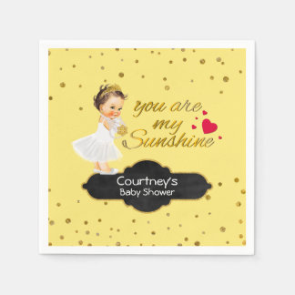 Gold Glitter Baby Shower | Princess Sunshine Song Paper Napkins