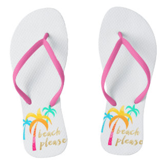 "gold glitter ""beach please"" with colorful palms flip flops"