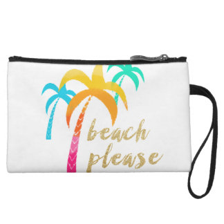 """gold glitter """"beach please"""" with colorful palms wristlet"""