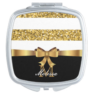 GOLD GLITTER  BLACK AND WHITE GOLDEN BOW MONOGRAM MAKEUP MIRRORS