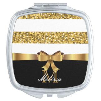 GOLD GLITTER  BLACK AND WHITE GOLDEN BOW MONOGRAM TRAVEL MIRROR