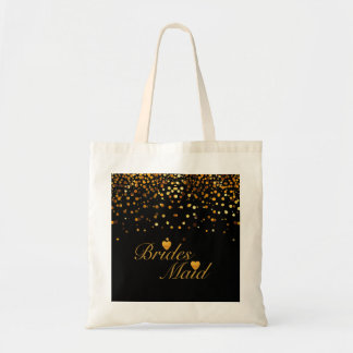 Gold Glitter Black Background Heart Bridesmaid Tote Bag