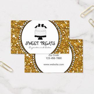 Gold Glitter Black Cake Bakery Business Cards