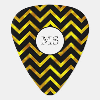 Gold glitter black chevron monogram guitar pick