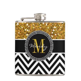 Gold Glitter Black Chevron Pattern Monogram Hip Flask
