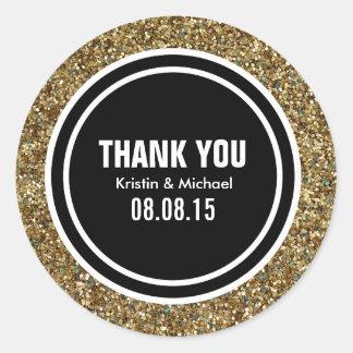 Gold Glitter & Black Custom Thank You Label Round Sticker